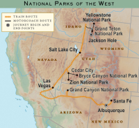 national parks of the west train map